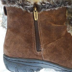 Khombu suede leather faux fur ankle boots